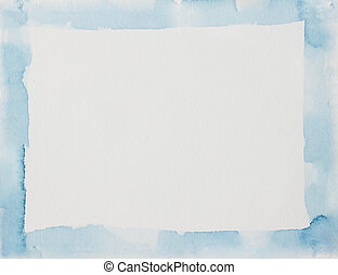 Blue watercolor frame paper useful for background