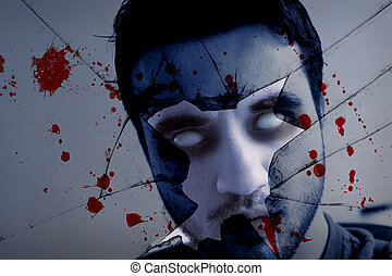assustador, rosto, zombie