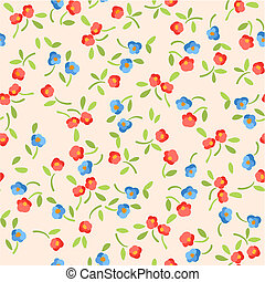 vector beautiful seamless pattern with red and blue flowers