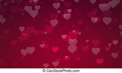 It\'s raining Love - Love Heart Shapes falling over red...