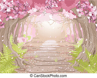 Magic spring forest - Magic spring forest landscape
