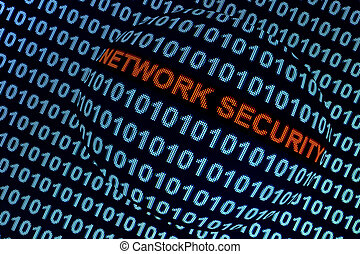 Network Security Symbolism - Digital binary code on computer...
