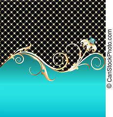 background with gold flower and precious stones -...