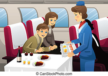 Flight attendant in an airplane - A vector illustration of...