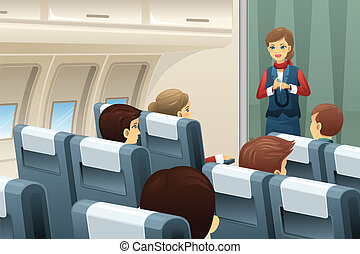 Flight attendant demonstrate how to fasten the seat belt - A...
