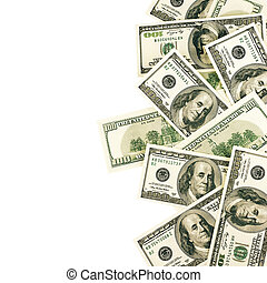 Money pill - Top view of one hundred dollar bills on white...