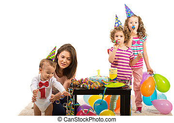 Mother and kids party - Mother and kids having party and...