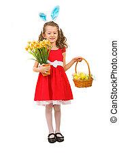 Beauty girl with Easter basket - Full length of beauty girl...