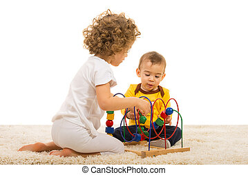 Two kids playing home