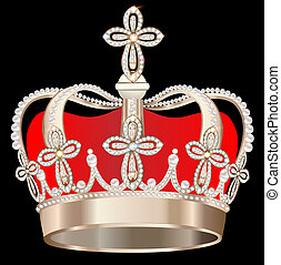 crown with pearls and crosses on black background -...
