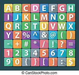 Alphabet and Number Flat Icon Set