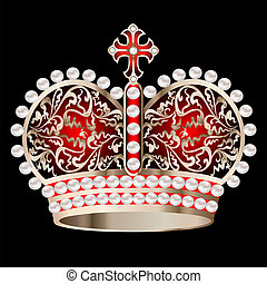 crown with pearls and ornament on a black - illustration...