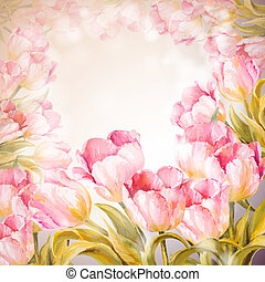 Tulips flowers background. Spring flowers invitation...