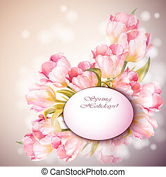 Tulips flowers background Spring flowers invitation template...