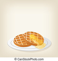 Waffles with a piece butter - Adorable vector waffles with a...
