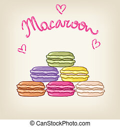 Stack of cute colourful vector macaroons in shape of...