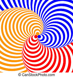 Design colorful twirl circular movement illusion background....