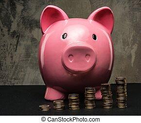 Piles of coins in front of piggybank