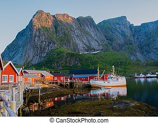 Traditional fishing boat in Reine village, Norway