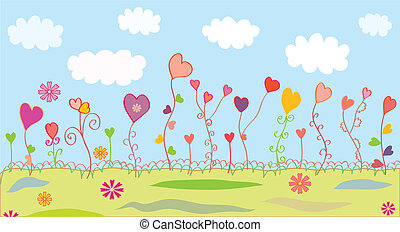 Summer floral background with hearts for kids