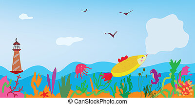 Sea banner with fish, nature and lighthouse cute card