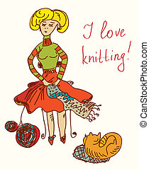 I love knitting card with funny woman cute design