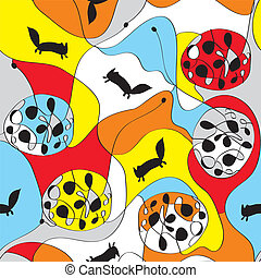 Seamless whimsical pattern with foxes bright design