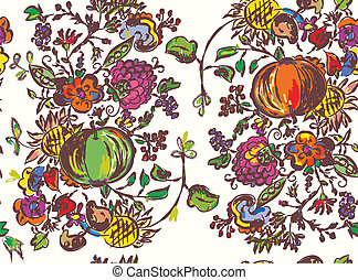 Seamless pattern with fruits for autumn hand drawn art