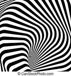 Design monochrome whirlpool motion illusion background. Abstract strip lines torsion backdrop. Vector-art illustration