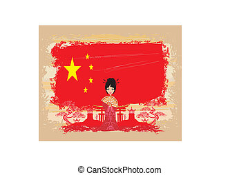 grunge abstract landscape with Asian girl and flag of China