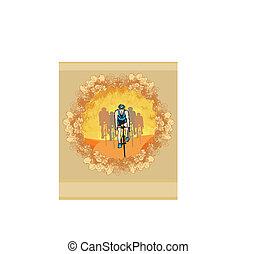 peloton - abstract retro card