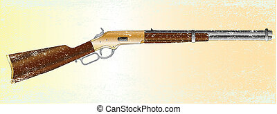 Grunge Rifle - A typical wild west rifle isolated on a...