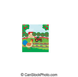 rural landscape - rooster, tractor and orchard