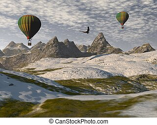 Two hot-air balloons in a landscape of mountains