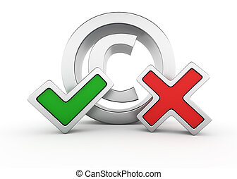 The Pros and Cons of Copyright - Metallic copyright sign...