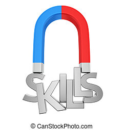 Skills trap - Blue-red magnet magnetizes the word 'Skills'
