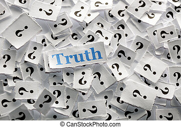 truth on question marks on white papers -hard light