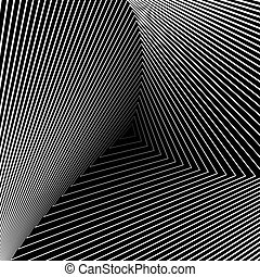 Design monochrome triangle movement illusion background....
