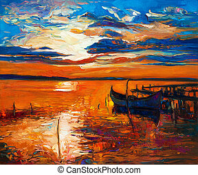 Boat - Original oil painting of boats and jetty(pier) on...