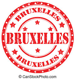 Brussels-stamp - Grunge rubber stamp with text...