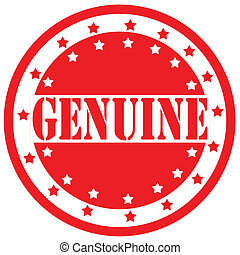 Genuine-label - Red label with text Genuine,vector...