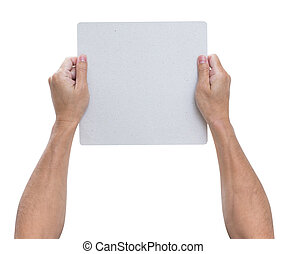 Hands holding blank paper isolated on white background, clipping path