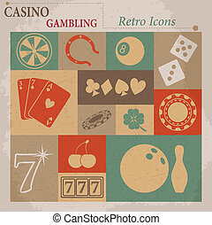 Casino and Gambling Vector Flat Retro Icons