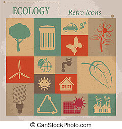 Ecology vector flat retro icons