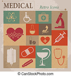 Medical vector flat retro icons