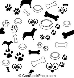 Dog Pattern Black and White - A white background with...