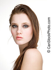 Fashion model posing on white background - Close up portrait...