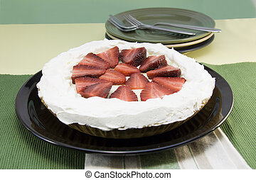 strawberry cream pie - simple, homestyle strawberry cream...