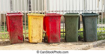 colorido, dustbins, público, Área, porto
