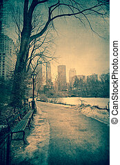 Winter Central Park - Vintage toned view of Central Park,...